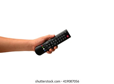 Hand holding  remote control. Isolated on white