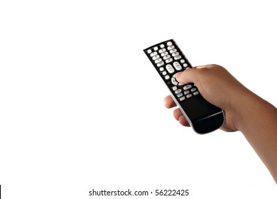 A hand holding a remote control isolated over a white background.