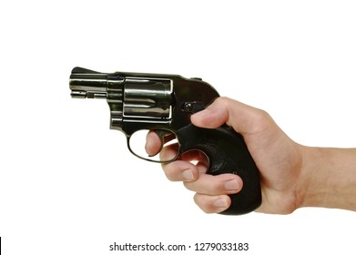 hand holding revolver gun and finger on trigger prepare to shoot in white background