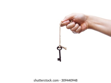 hand holding a rope with a key