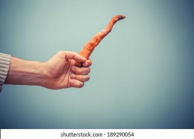 A hand is holding a rotten carrot - Shutterstock ID 189290054