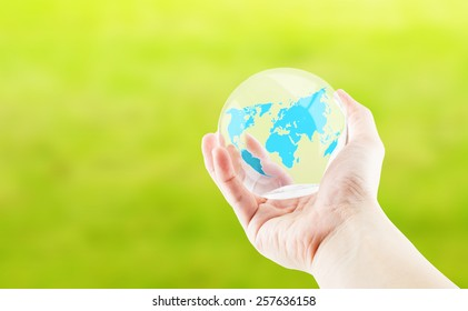Plastic world images stock photos vectors shutterstock hand holding round glossy ball with world map on green backgroundeco concept gumiabroncs Images