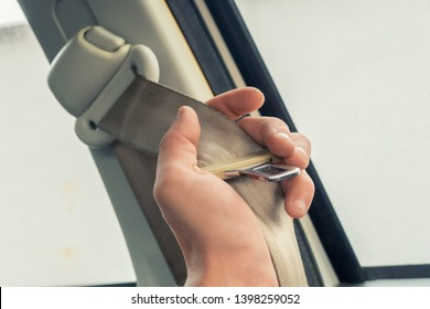 Hand Holding Safety Seat Belt in The Car, A Vehicle Safety Device Use For Secure The Car Accidents and Occupant Ejection.