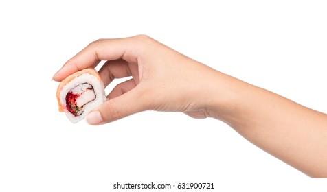 hand holding Salmon Sushi isolated on white background