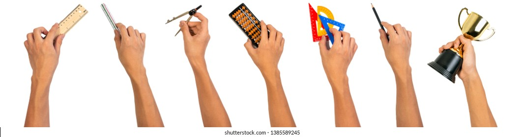 Hand holding school equipments plastic set square, pencil, wooden ruler, triangular ruler scale, abacus, golden trophy and calipers compasses for education concept.