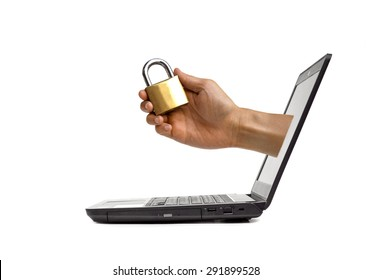 Hand holding a security lock coming out from a computer screen /computer security concept