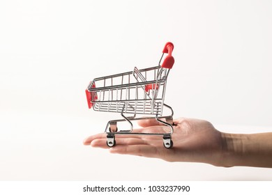 Hand holding the shopping cart