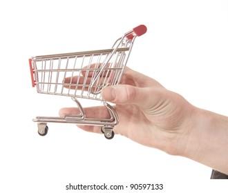 hand holding a shopping cart