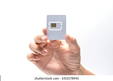 hand holding sim card mockup on white background