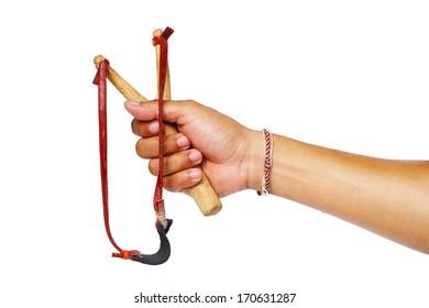 Hand Holding Slingshot on White Background