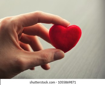 Hand holding small bright red heart on grey background