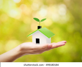Hand holding a small green house with a tree growing on the roof with green bokeh background