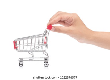 hand holding a small shopping cart isolated on white background