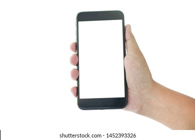 hand holding smart phone with blank screen isolated on white