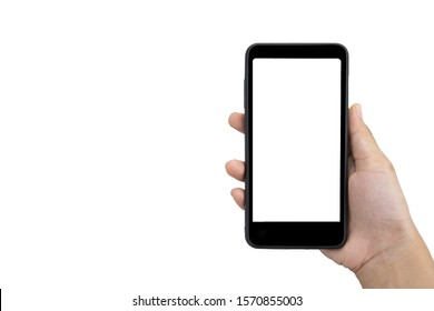 hand holding smart phone with empty space isolated on white background with Clipping path.