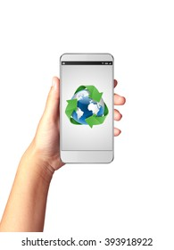 Hand holding smart phone with Global Recycle on display