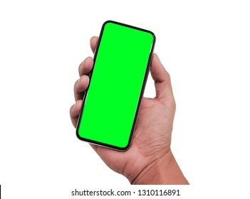 hand holding smart phone with green screen isolated on a white background. Smartphone similar to iphone xs max with blank for Infographic Global Business Marketing investment Plan, mockup