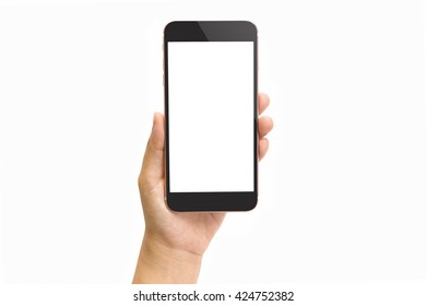 Hand holding smart phone isolated on white background and clipping path inside