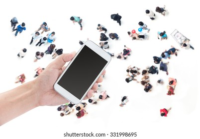 Hand holding smart phone on people shopping background