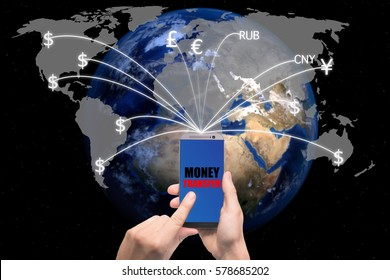 Hand holding smart phone sent money flying away from screen to global map. Technology online banking money transfer, e-commerce concept