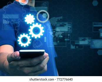 Hand holding smart phone technology,business technology concept