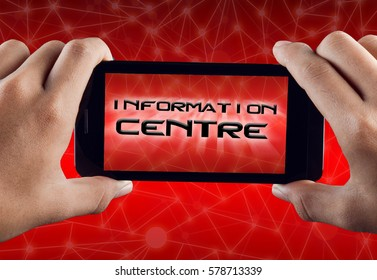 Hand Holding Smart Phone with text INFORMATION CENTRE over abstract technology polygonal background