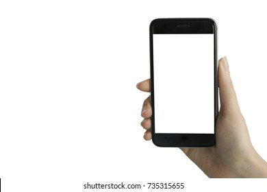 Hand holding smart phone with white blank screen on white clear background