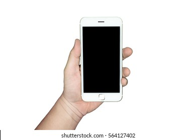 Hand holding a smartphone with black blank screen isolated on white