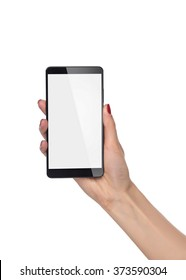 Hand holding smartphone with blank screen on white.