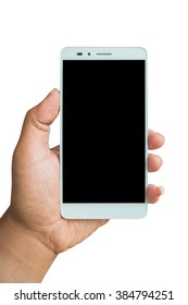 Hand holding Smartphone with blank screen on white background