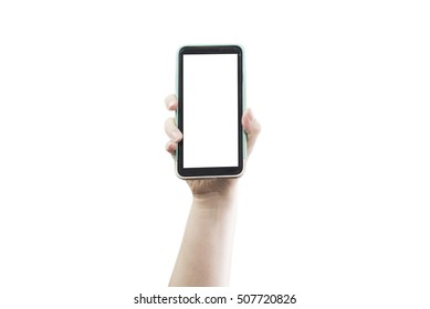 Hand holding up smartphone with blank screen and clipping path.