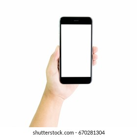 Hand holding smartphone blank screen, clipping path.