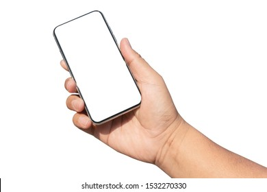 hand holding smartphone device and blank touching screen.isolated with clipping path on white background