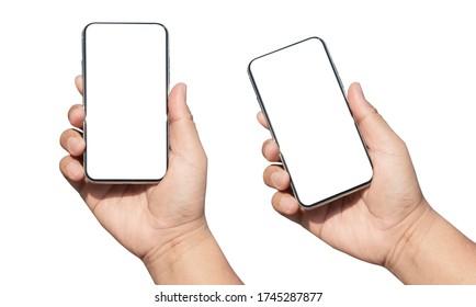 hand holding smartphone device and blank touching screen.isolated with clipping path on white background - Shutterstock ID 1745287877