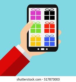 Hand holding Smartphone:  - Flat Design