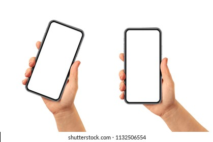 Hand holding smartphone frame less - white blank screen