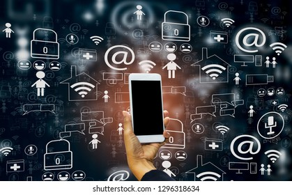 Hand holding smartphone into social media world,with concept internet of things, fast 5g technology, cloud storage, and data analysis using AI (artificial intelligence)