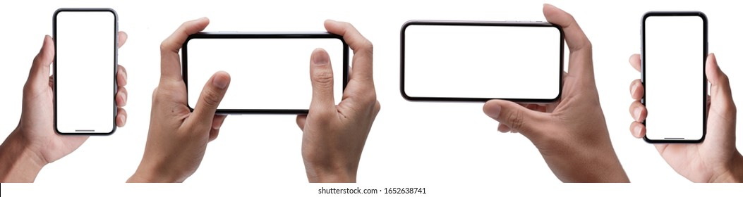 Hand holding Smartphone iPhon x set and isolated on white background for your mobile phone app or web site design payment , Studio shot of Business global technology -include clipping path