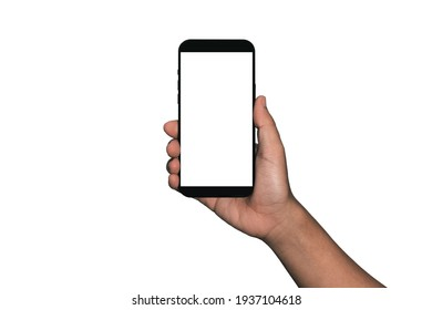 Hand holding Smartphone iPhone  and isolated on white background for your mobile phone app or web site design, logo Global Business technology - include clipping path. (Businessman hand iPhone)
