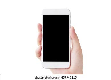 Hand holding smartphone, Smartphone isolated