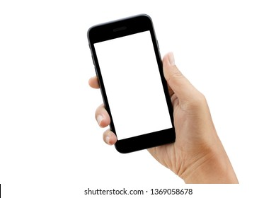 hand holding smartphone isolated on white background - clipping paths
