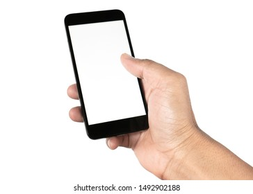 Hand holding smartphone isolated on white background with clipping path