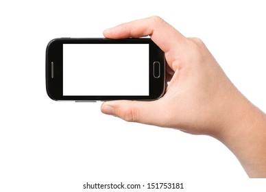 Hand holding smartphone, isolated on white background
