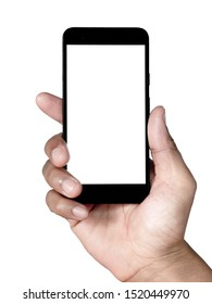 Hand holding smartphone isolated on white background with clipping path.