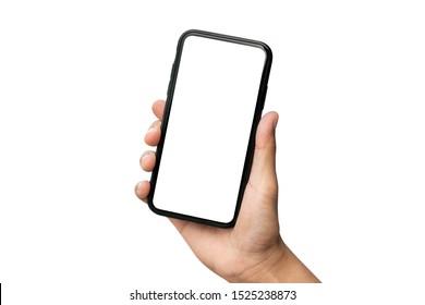 Mano sosteniendo el smartphone aislado sobre fondo blanco.