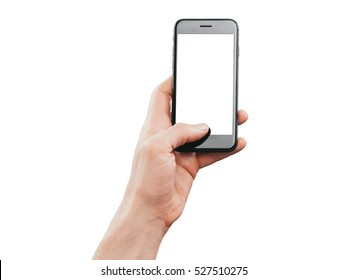 Hand holding smartphone, isolated on white