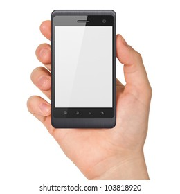Hand holding smartphone on white background. Generic mobile smart phone in hand, 3d render