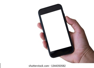 Hand holding smartphone on white background.