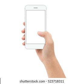 hand holding smartphone on white background clipphing path inside, mock-up phone white screen