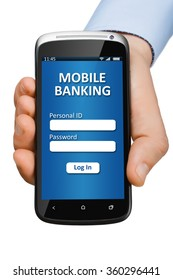 Hand holding a smartphone with open banking application